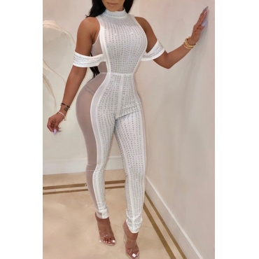 Lovely Sexy Patchwork Skinny White Knitting One-piece Jumpsuit