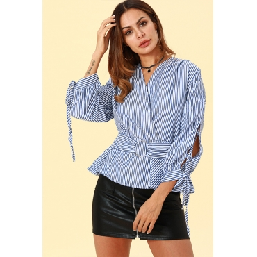 Lovely Casual Work Hollowed-out Striped Blue Blouses