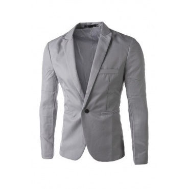 Lovely Casual Long Sleeves Grey Cotton Formal Wear