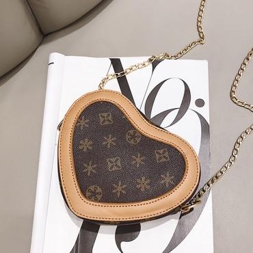 Lovely Vintage Heart Shaped  Khaki PU  Messenger Bag