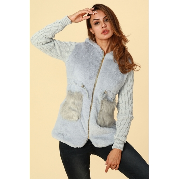 Lovely Trendy Patchwork Grey Cotton Coat