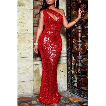 Lovely Elegant Hollowed-out Sequined Floor Length Dress