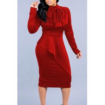 Lovely Elegant Long Sleeves Red Mid Calf  Dress