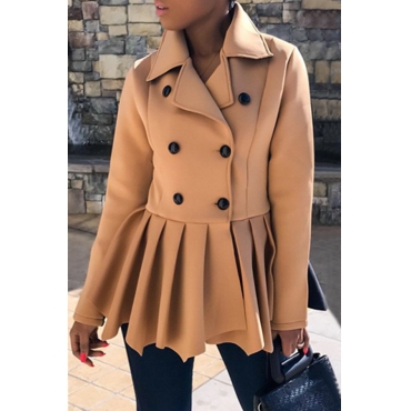 Lovely Casual Khaki Irregular Hems  Coat