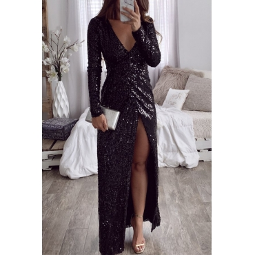 Lovely Elegant Sequined Decorative Black Floor Length  Dress