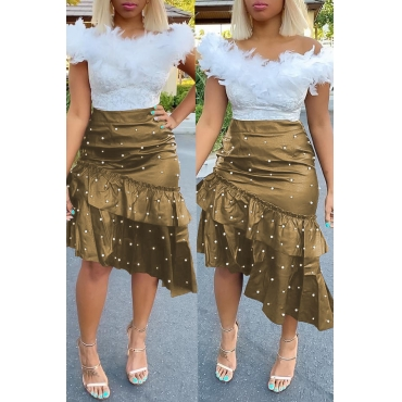 Lovely Sweet Flounce Design Gold PU Skirts