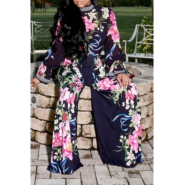 Lovely  Casual Floral Printed Dark Blue Two-piece Pants Set