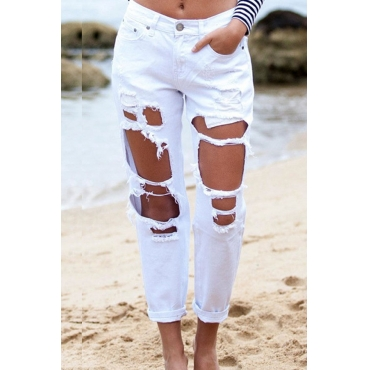 Lovely Chic Broken Holes White Denim  Pants