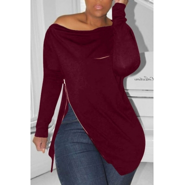 Lovely Casual Irregular Zipper Wine Red Hoodies