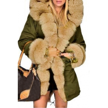 Lovely Casual  Hooded Collar Green Blending Parkas