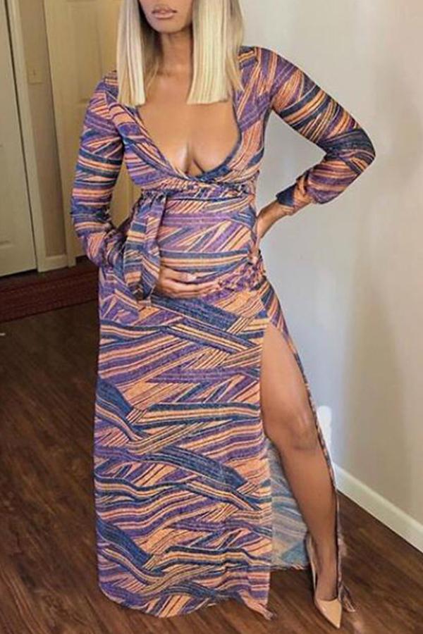 Lovely Qmilch Sexy Print Regular sleeve Long Sleeve V Neck Trailing Waist skirt Yes(Elastic) Dresses