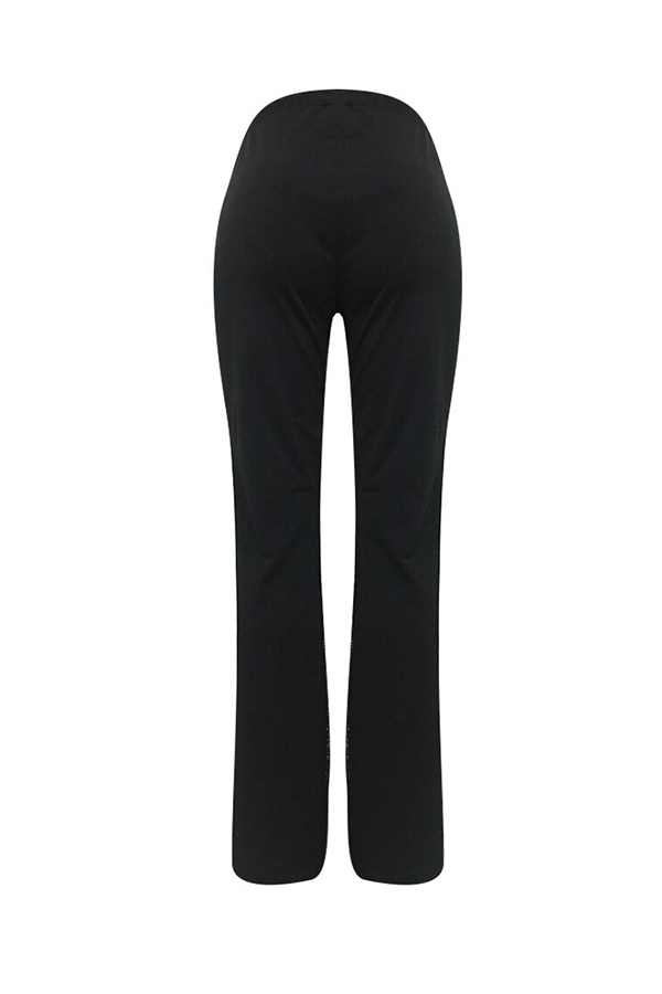 Lovely Trendy Patchwork Black Twilled Satin  Pants