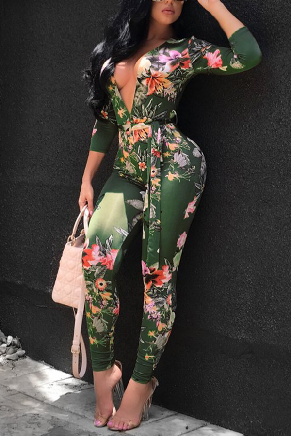 Lovely Sexy Deep V Neck Printed Knitting One-piece Skinny Jumpsuits(Without Belt)