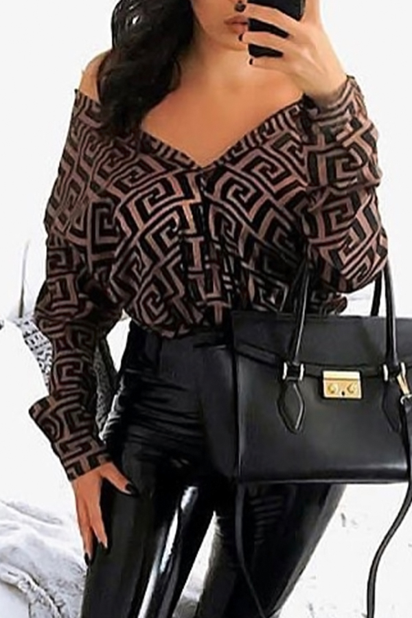 Lovely Casual Printed Coffee Blouses