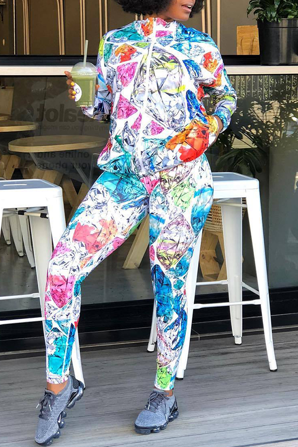 Lovely Casual Geometric Multicolor Blending Two-piece Pants Set
