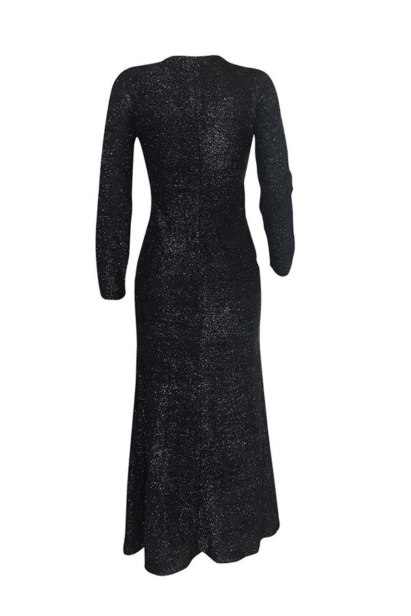 Lovely  Party Slit Black Ankle Length Dress