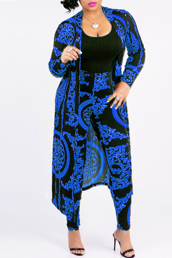 Lovely Casual Printed Blue Blending Two-piece Pants Set(Without T-shirt)