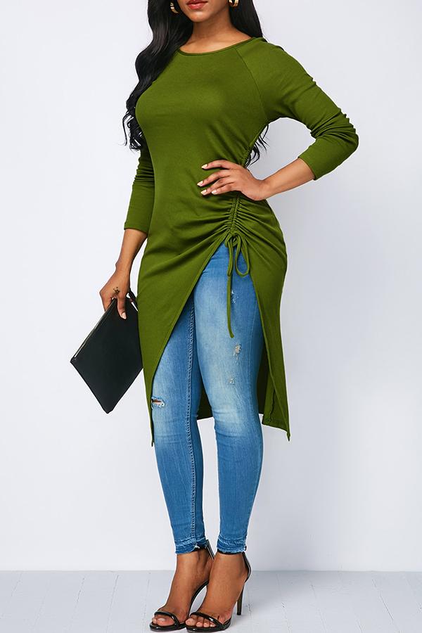 Lovely Casual Asymmetrical  Grass Green Twilled Satin T-shirt