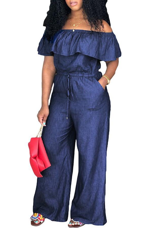 Lovely Casual Bateau Neck Flounce Deep Blue Denim One-piece Jumpsuits