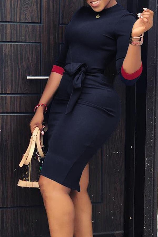 lovelywholesale / Cheap Dresses Lovely Casual Patchwork Slim Dark Blue Knee Length Dress