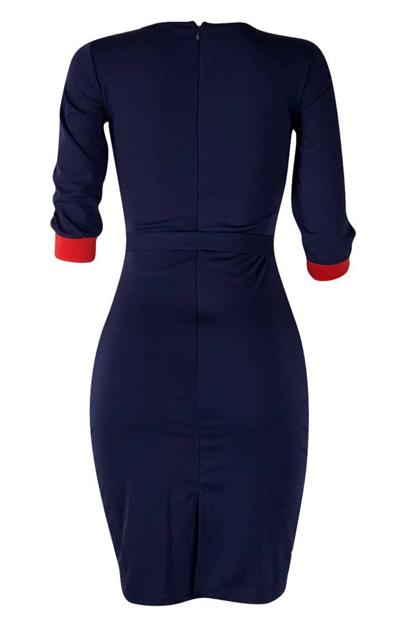 Lovely Casual Patchwork Slim Dark Blue Knee Length Dress