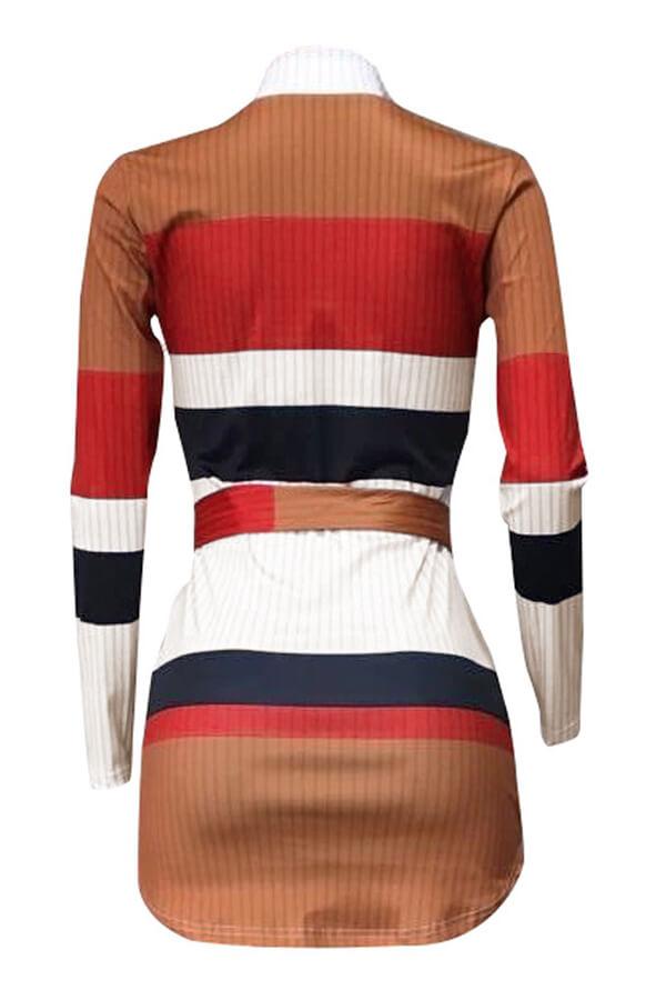 Lovely Casual Striped Orange Blending Mini Dress