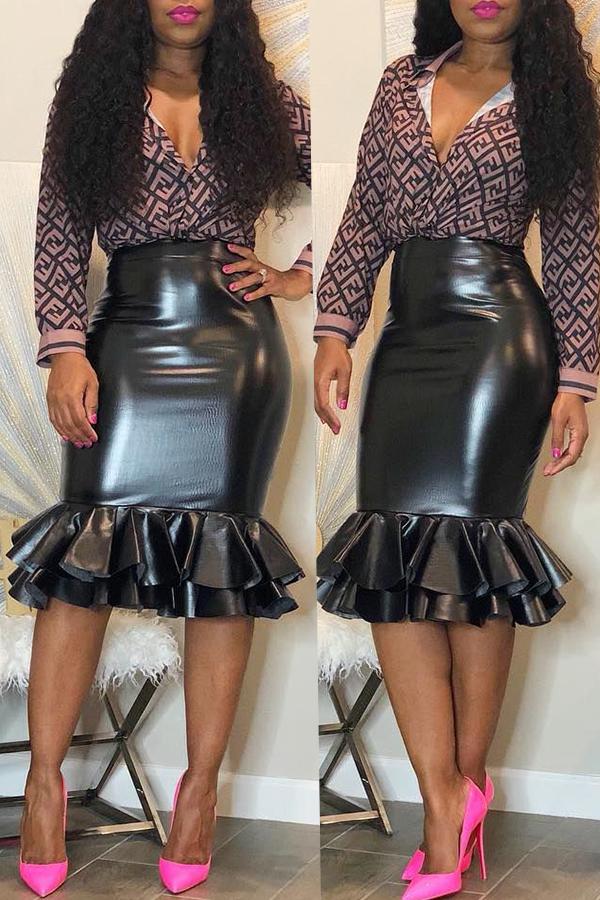Lovely Sweet  Flounce Design Black PU Knee Length Skirts