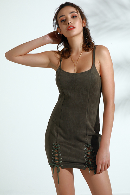 Lovely Trendy Lace-up Army Green Faux Leather Mini Dress