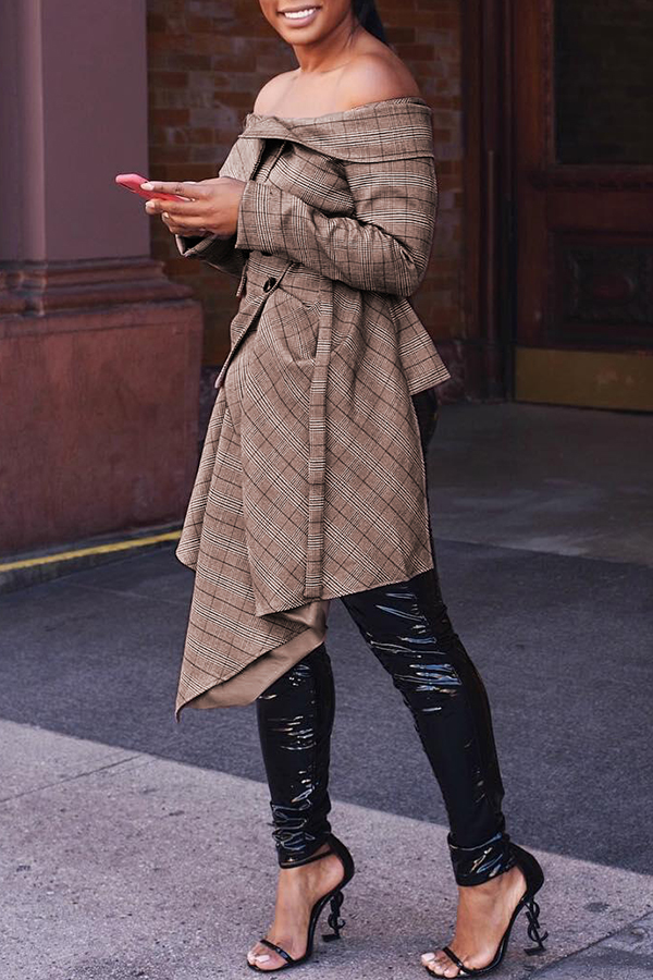 Encantador Abrigo De Color Caqui Asimétrico De Moda