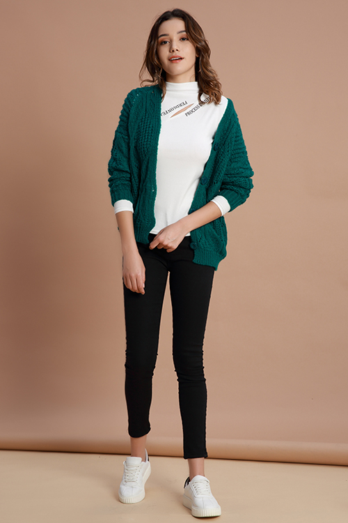 Lovely Casual Hollowed-out Green Cardigan Sweaters