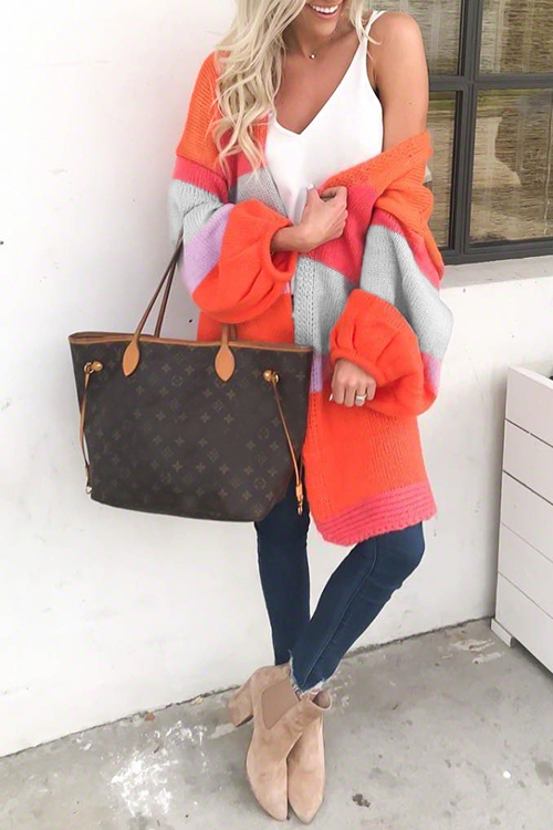 Lovely Chic Color-lump Orange Cardigan Sweaters