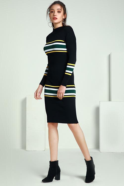 Lovely Trendy Striped Black Mid Calf Dress
