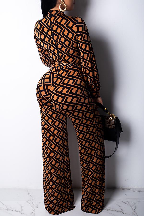 lovelywholesale / Lovely Trendy Printed Khaki Blending One-piece Jumpsuit