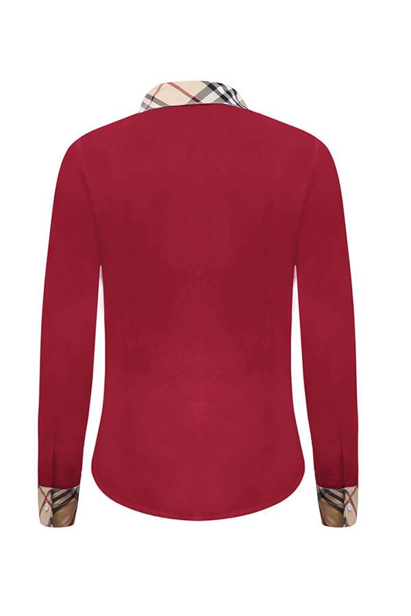 Camisas De Algodón Rojo Brillante Encantador Patchwork Casual