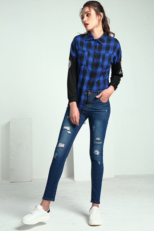 Lovely Casual Grids Printed  Deep Blue Cotton Shirts