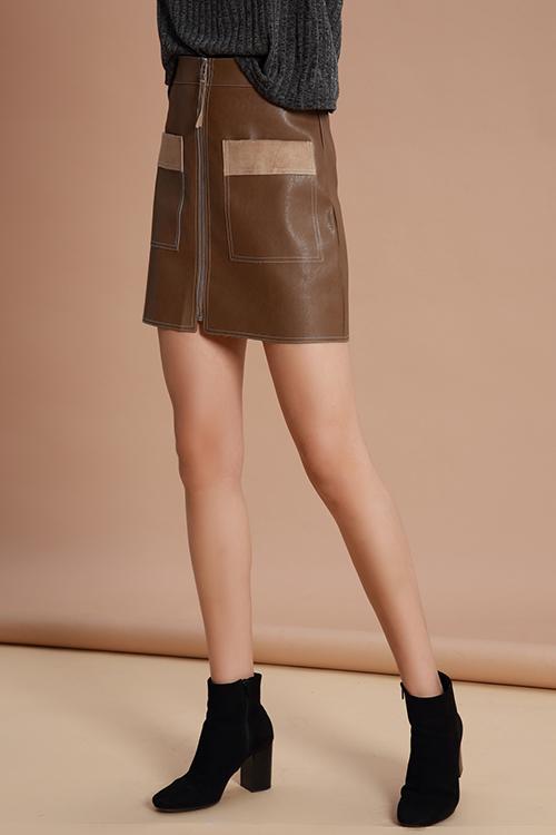 Lovely Trendy Parchwork Khaki PU Mini Skirts