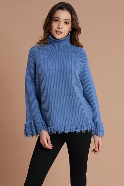 Lovely Casual Tassel Design Blue Sweaters