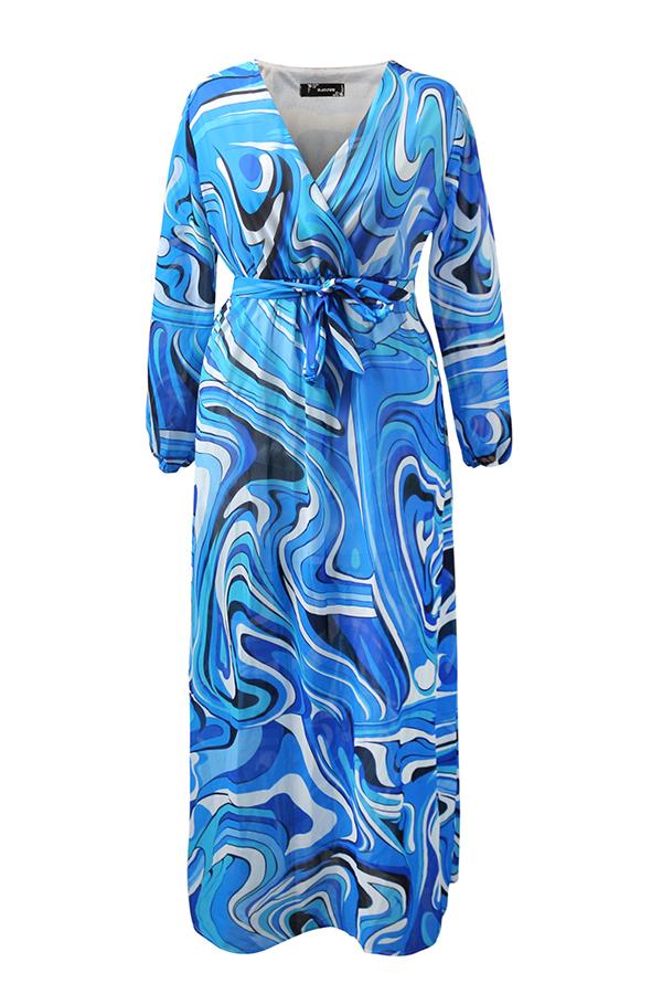 Lovely Bohemian Printed Blue Blending Floor Length Dress