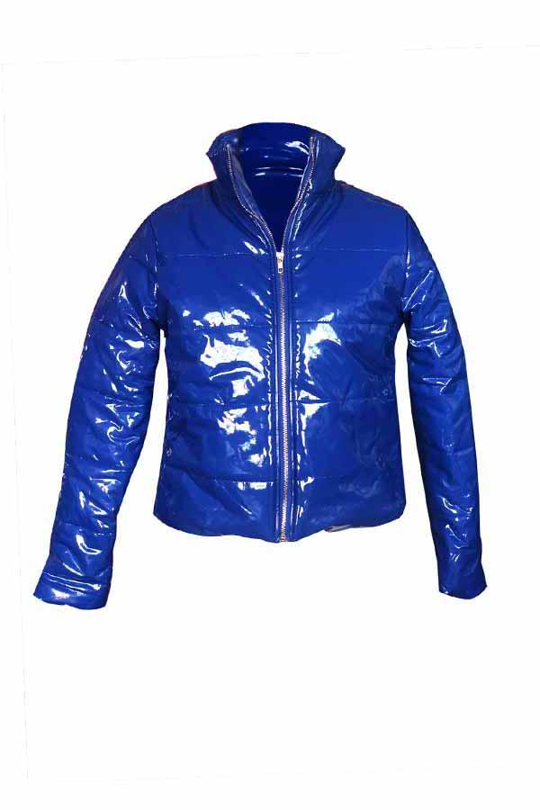 Lovely Casual Zipper Design Royal Blue Parkas