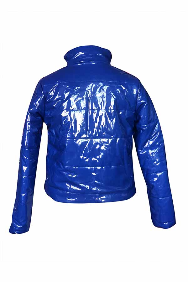 Lovely Casual Zipper Design Royal Blue Parkas