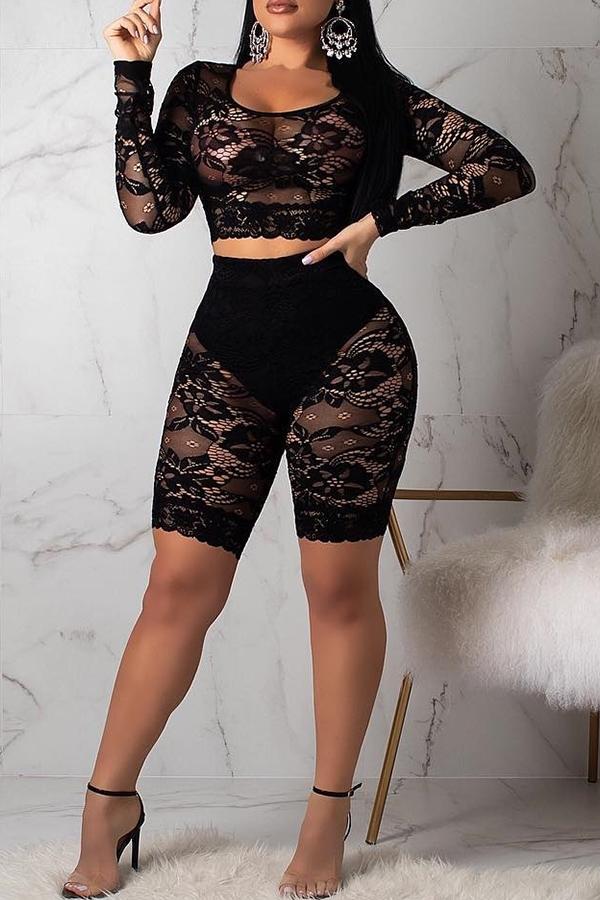 Precioso Conjunto De Pantalones Cortos De Dos Piezas De Encaje Negro Transparente (sin Calzoncillos)