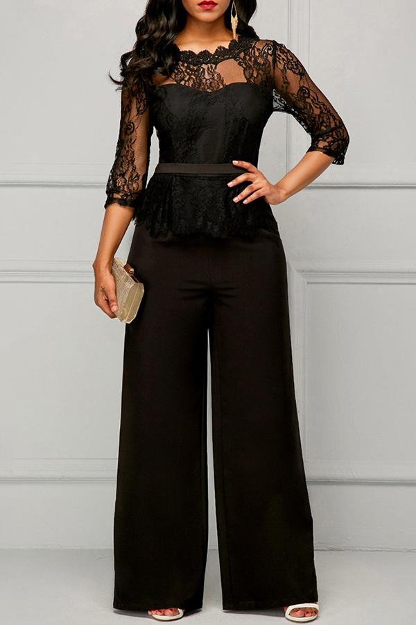 Lovely Temperament Patchwork Black Lace One-piece Jumpsuit ...