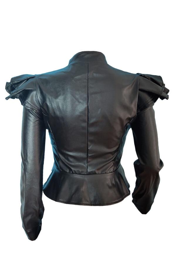 Lovely Casual  Long Sleeves Black PU Jacket