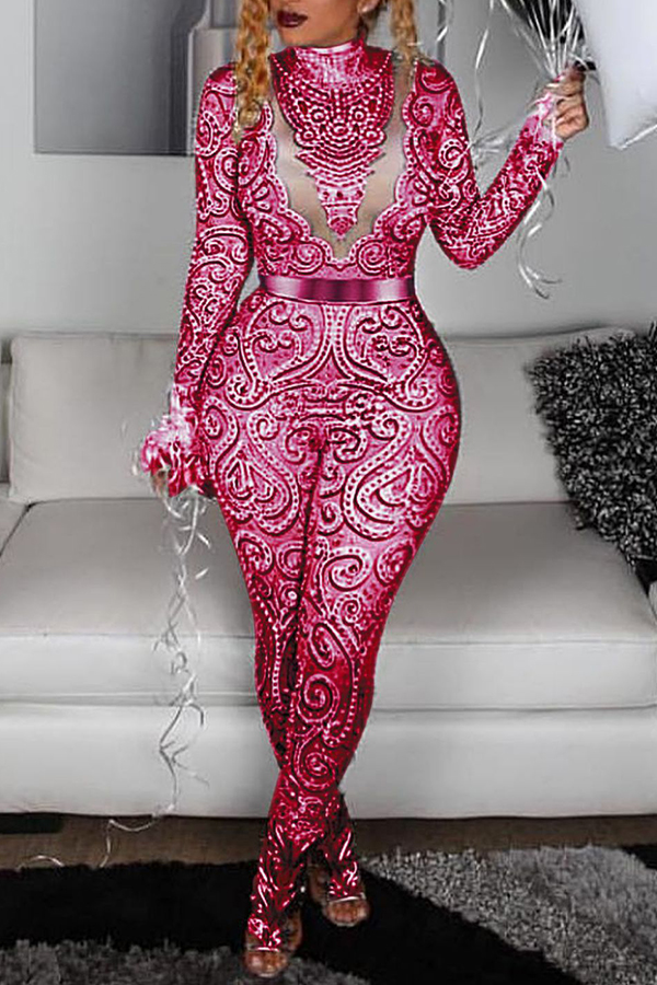 Lovely Sexy Hollowed-out Red One-piece Jumpsuit