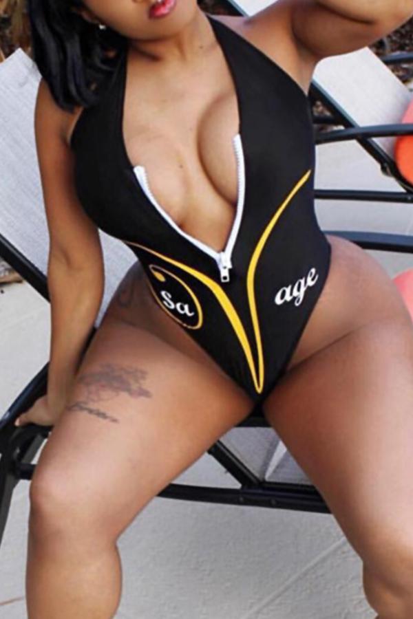 Lovely Sexy V Neck Letter Printed Zipper Design Black  One-piece Swimwear