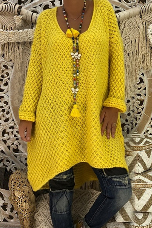 Lovely Casual Irregular Hems Yellow Sweaters