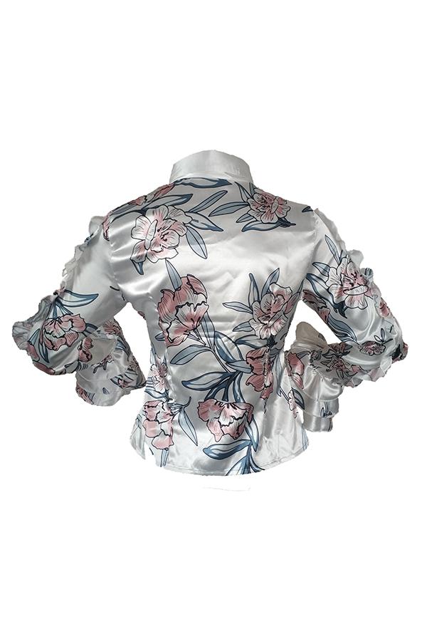 Lovely Chic Flounce Design White Blouses