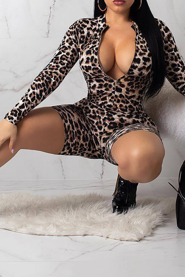 Lovely Trendy Leopard Skinny Multicolor One-piece Rompers
