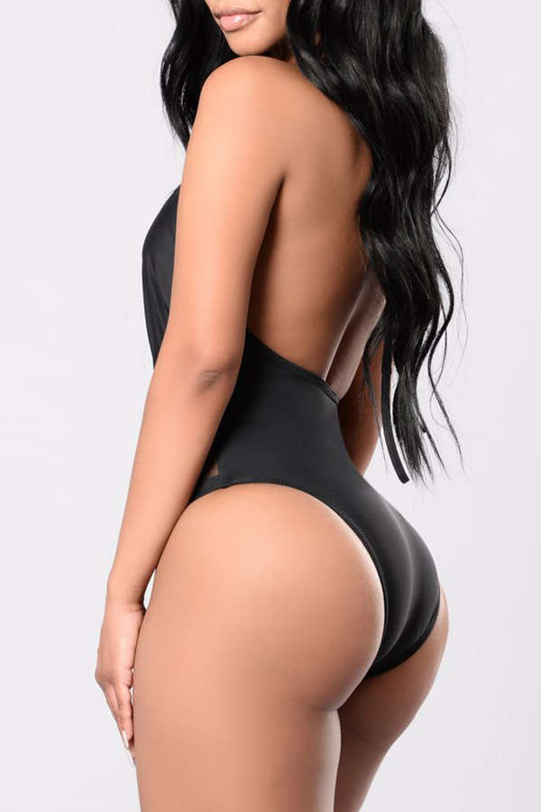 Lovely Sexy Patchwork Black One-piece Swimwear