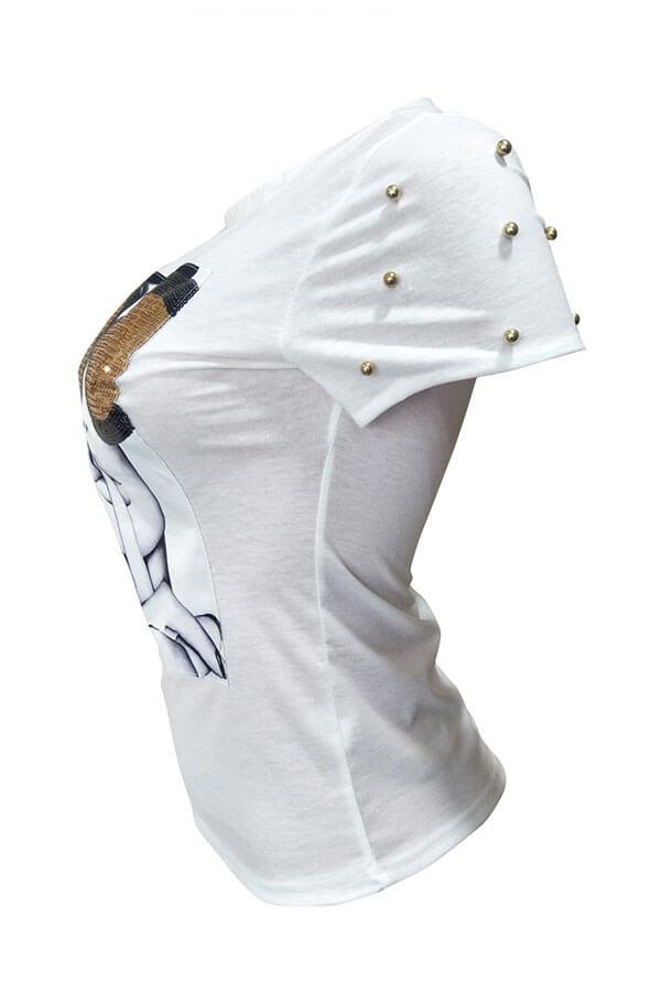 Lovely Chic Sequined Decorative White Blending T-shirt